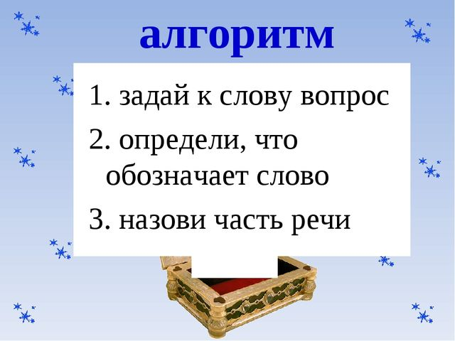 1. задай к слову вопрос 2. определи, что обозначает слово 3. назови часть ре...