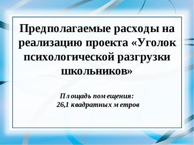 Предполагаемые расходы на реализацию проекта «Уголок психологической разгрузк...