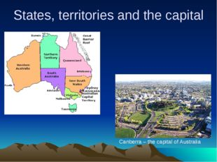 States, territories and the capital Canberra – the capital of Australia