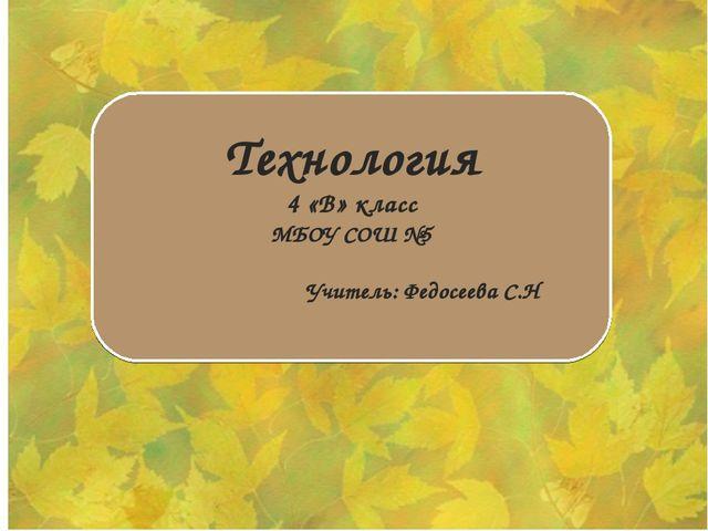 Технология 4 «В» класс МБОУ СОШ №5 Учитель: Федосеева С.Н