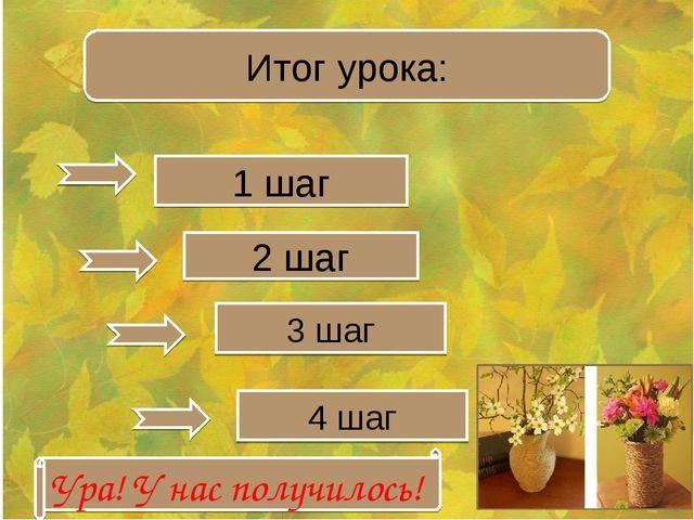 Итог урока: 1 шаг 2 шаг 3 шаг 4 шаг Ура! У нас получилось!