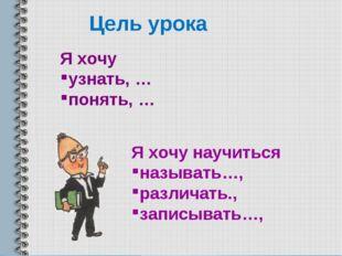 Цель урока Я хочу узнать, … понять, … Я хочу научиться называть…, различать.,