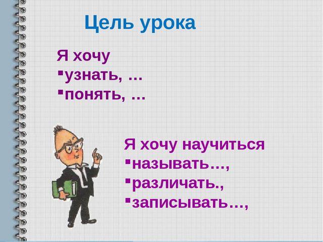 Цель урока Я хочу узнать, … понять, … Я хочу научиться называть…, различать.,...