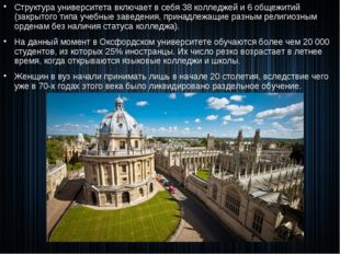 Структура университета включает в себя 38 колледжей и 6 общежитий (закрытого