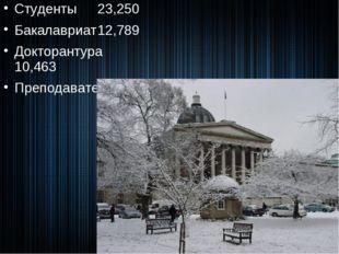 Студенты23,250 Бакалавриат12,789 Докторантура10,463 Преподаватели9,783