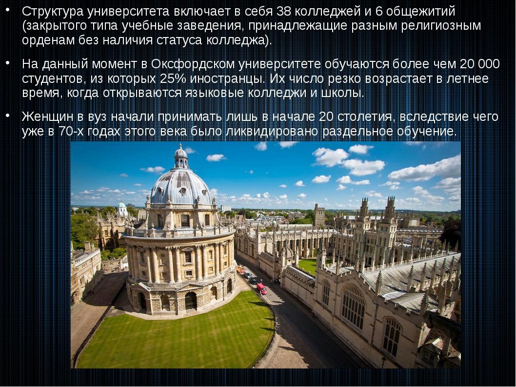 Структура университета включает в себя 38 колледжей и 6 общежитий (закрытого...