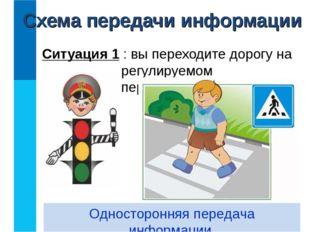 Ситуация 1 : вы переходите дорогу на регулируемом перекрёстке. Односторонняя