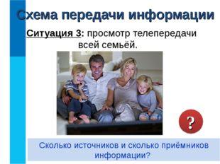 Ситуация 3: просмотр телепередачи всей семьёй. Сколько источников и сколько п