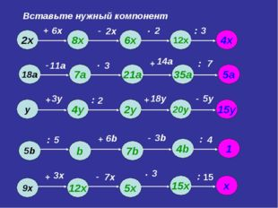 Вставьте нужный компонент 6х 2х 2 3 11а 3 14а 7 3у 2 18у 5у 5 6b 3b 4 3х 7х 3