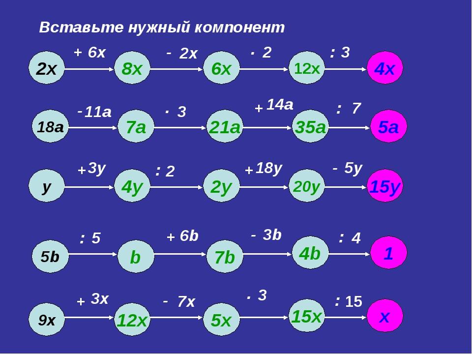 Вставьте нужный компонент 6х 2х 2 3 11а 3 14а 7 3у 2 18у 5у 5 6b 3b 4 3х 7х 3...
