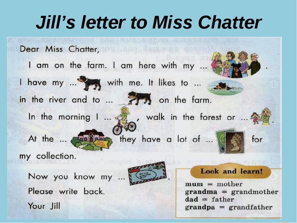 Jill's letter to Miss Chatter