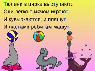 Тюлени в цирке выступают: Они легко с мячом играют, И кувыркаются, и пляшут,