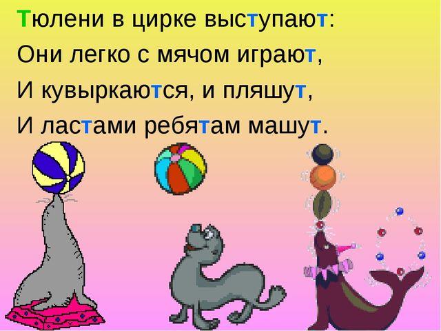 Тюлени в цирке выступают: Они легко с мячом играют, И кувыркаются, и пляшут,...