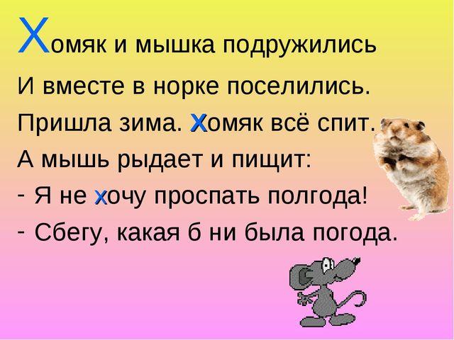 Хомяк и мышка подружились И вместе в норке поселились. Пришла зима. Хомяк всё...