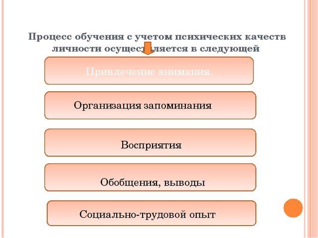 Процесс обучения с учетом психических качеств личности осуществляется в след...