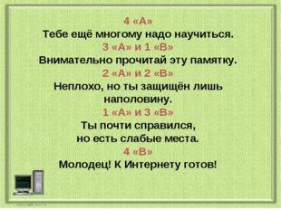4 «А» Тебе ещё многому надо научиться. 3 «А» и 1 «В» Внимательно прочитай эту