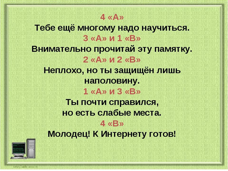 4 «А» Тебе ещё многому надо научиться. 3 «А» и 1 «В» Внимательно прочитай эту...