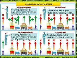 Пешеходам разрешено переходить проезжую часть за спиной регулировщика Пешеход