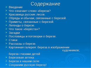 Содержание Введение Что означает слово «береза? Красавица русских лесов. Обря