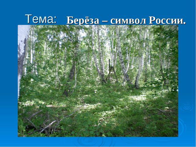 Тема: Берёза – символ России.