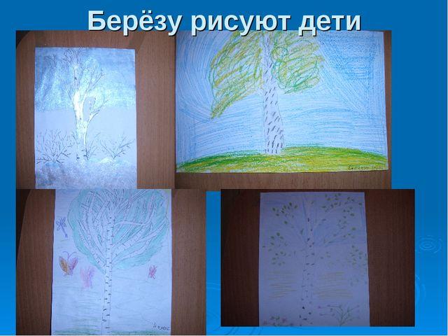 Берёзу рисуют дети