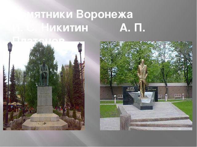 Памятники Воронежа И. С. Никитин А. П. Платонов