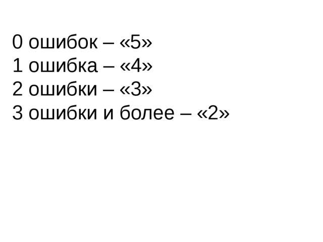 0 ошибок – «5» 1 ошибка – «4» 2 ошибки – «3» 3 ошибки и более – «2»