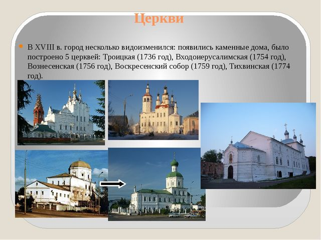 Церкви В XVIII в. город несколько видоизменился: появились каменные дома, был...