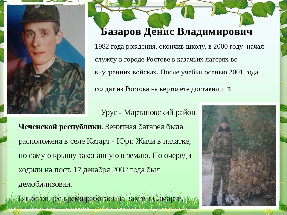 Базаров Денис Владимирович 1982 года рождения, окончив школу, в 2000 году на...