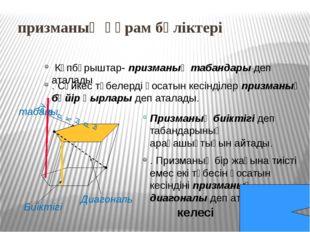 призма түрлері Тік призма- бүйір қырлары табандарына перпендикуляр Көлбеу пр