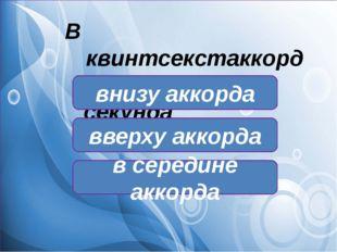 В квинтсекстаккорде секунда находится: в середине аккорда внизу аккорда ввер