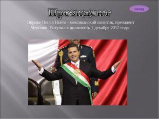 Энрике Пенья Ньето - мексиканский политик, президент Мексики. Вступил в должн