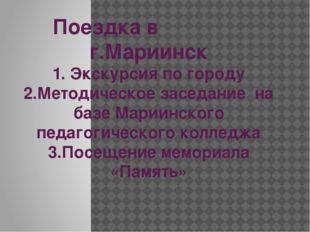 Поездка в г.Мариинск 1. Экскурсия по городу 2.Методическое заседание на базе