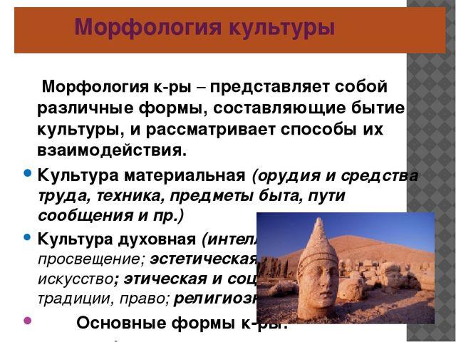 Морфология культуры Морфология к-ры – представляет собой различные формы, со...