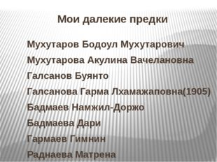 Мои далекие предки Мухутаров Бодоул Мухутарович Мухутарова Акулина Вачелановн
