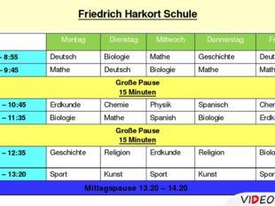 Friedrich Harkort Schule Montag Dienstag Mittwoch Donnerstag Freitag 1.8:10