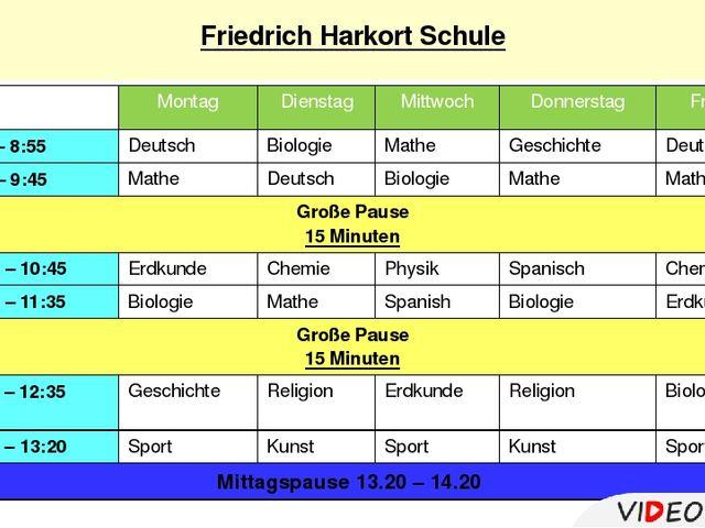 Friedrich Harkort Schule Montag Dienstag Mittwoch Donnerstag Freitag 1.8:10...