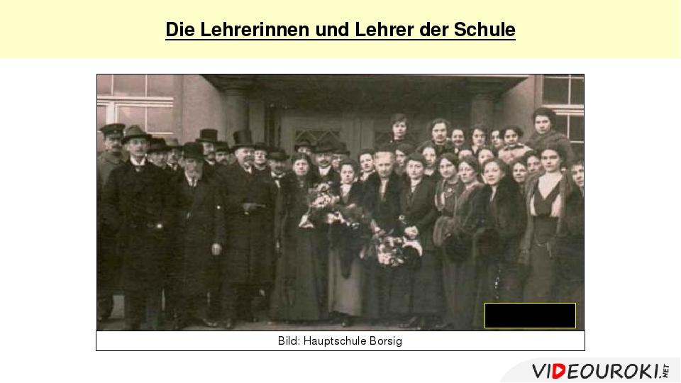 """Die Lehrerinnen und Lehrer derSchule """"Fräulein"""" Bild: Hauptschule Borsig"""