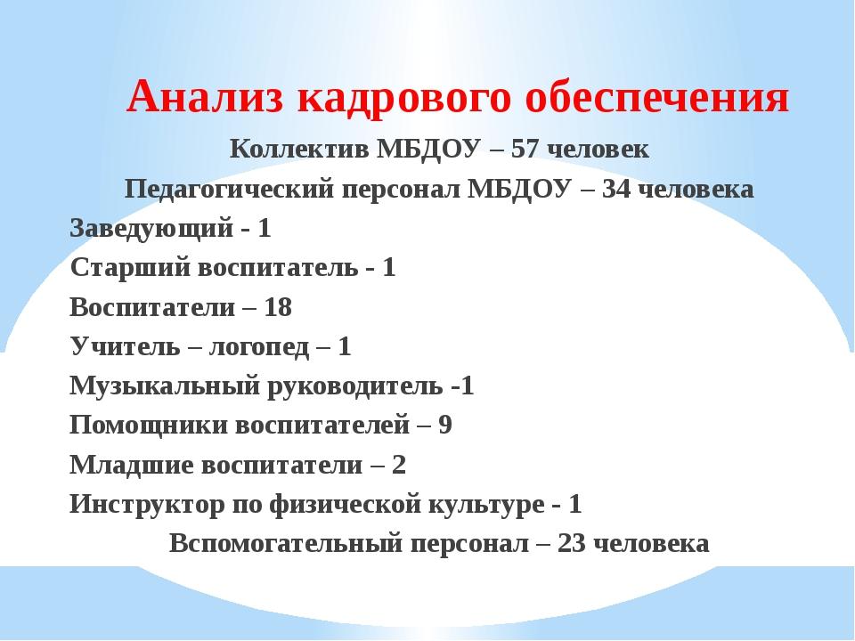 Анализ кадрового обеспечения Коллектив МБДОУ – 57 человек Педагогический перс...