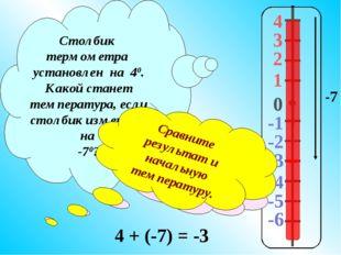 4 3 2 1 -1 0 -2 -3 -4 -5 -6 Столбик термометра установлен на 40. Какой станет