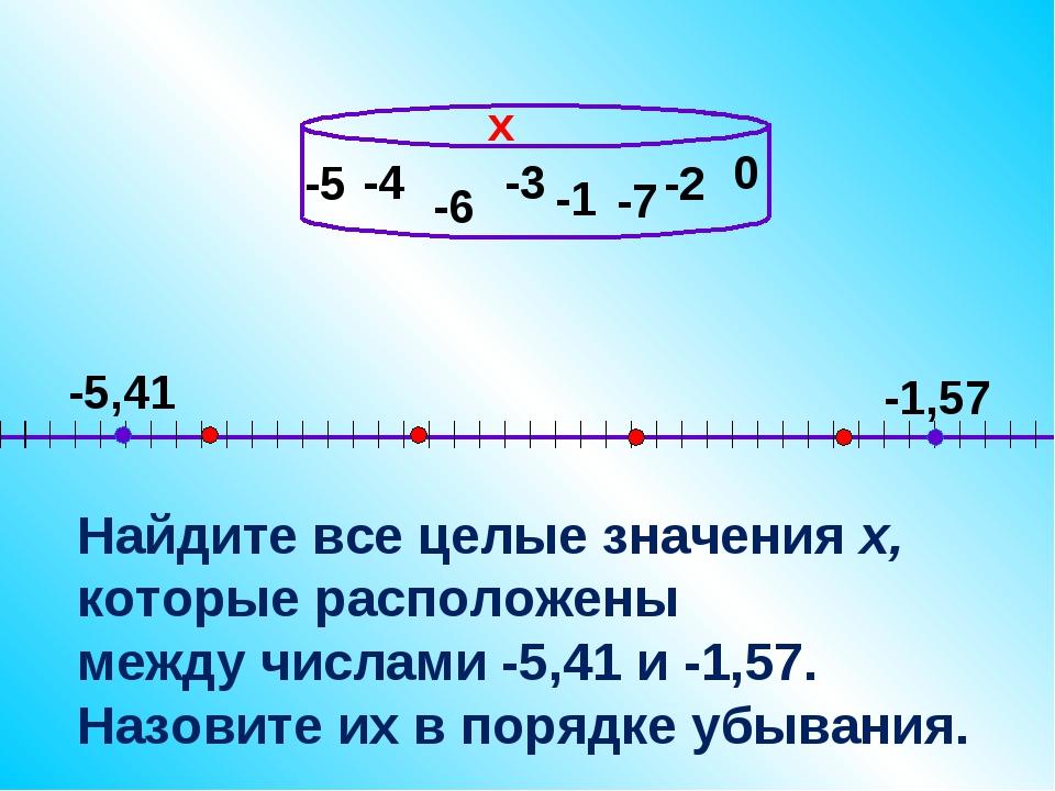 -4 Найдите все целые значения х, которые расположены между числами -5,41 и -1...