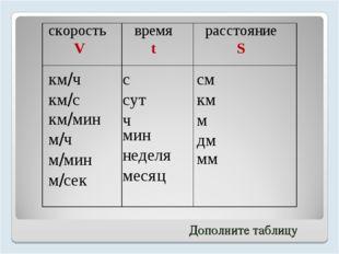 скорость V время t расстояние S км/ч км/с км/мин м/ч м/мин м/сек с сут ч мин