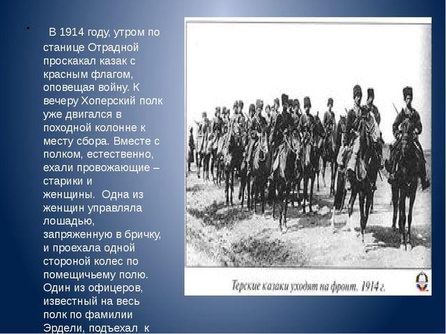 В 1914 году, утром по станице Отрадной проскакал казак с красным флагом, опо...