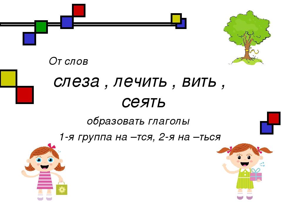 От слов слеза , лечить , вить , сеять образовать глаголы 1-я группа на –тся,...