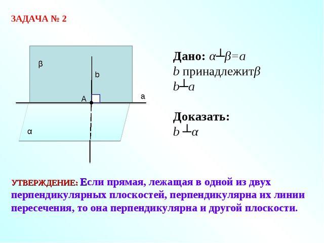 ЗАДАЧА № 2 Дано: α┴β=а b принадлежитβ b┴a Доказать: b ┴α УТВЕРЖДЕНИЕ: Если пр...