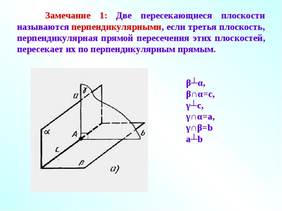 Замечание 1: Две пересекающиеся плоскости называются перпендикулярными, если...