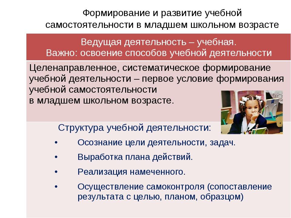 Формирование и развитие учебной самостоятельности в младшем школьном возраст...