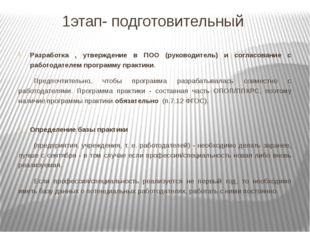 1этап- подготовительный Разработка , утверждение в ПОО (руководитель) и согла