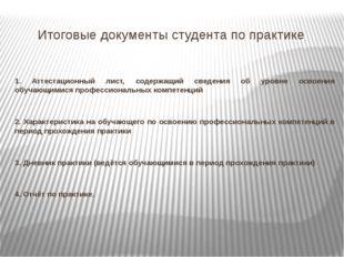 Итоговые документы студента по практике 1. Аттестационный лист, содержащий св