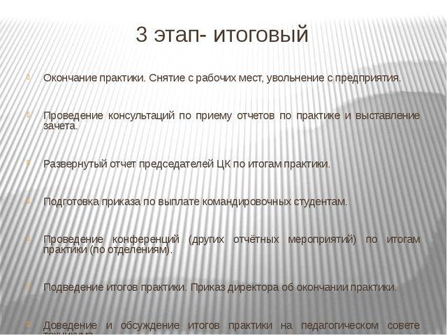 3 этап- итоговый Окончание практики. Снятие с рабочих мест, увольнение с пред...